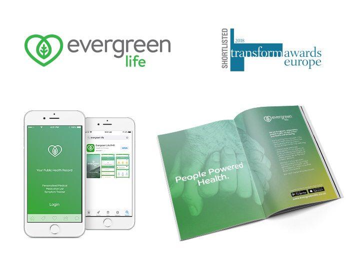 Evergreen Life logo, app and magazine advert