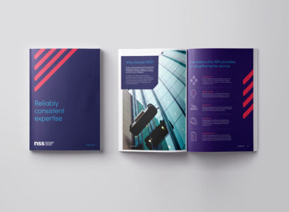 Brochure design featuring new brand styling