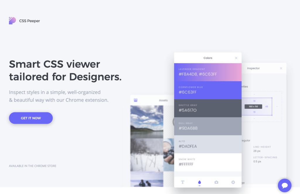 CSS Peeper Chrome Plugin preview