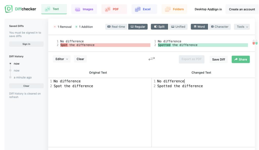 Diffchecker online comparison tool